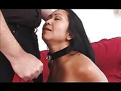 Asian gal-slave spanked..