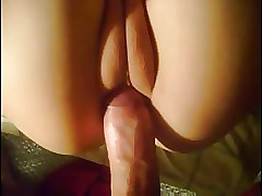 Grasping shaved asian pussy..