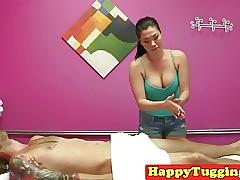 Asian masseuse wanking say no..