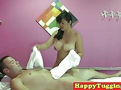 Take charge asian masseuse tugs..