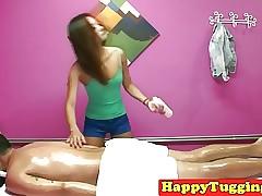 Asian masseuse tugs consumer..
