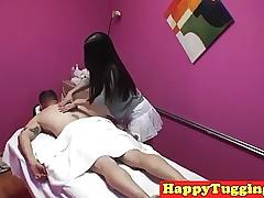 Asian masseuse tugging..